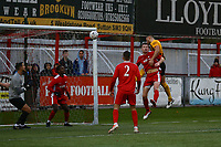 Luke Shiels (right) of Boston United scores the second goal for his team with a header during Carshalton Athletic vs Boston United, Emirates FA Cup Football at the War Memorial Sports Ground on 9th November 2019