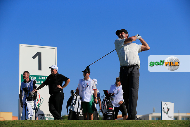 Jose Maria Olazabal (ESP) tees off the 1st tee during Thursday's Round 1 of the 2013 Portugal Masters held at the Oceanico Victoria Golf Club. 10th October 2013.<br /> Picture: Eoin Clarke www.golffile.ie