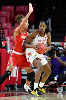 College Park, MD - March 23, 2019: Maryland Terrapins center Olivia Owens (35) makes a move to the basket guarded by Radford Highlanders forward Lydia Rivers (20) during first round action of game between Radford and Maryland at Xfinity Center in College Park, MD. Maryland defeated Radford 73-51. (Photo by Phil Peters/Media Images International)