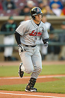 Tony Delmonico #7 of the Great Lakes Loons hustles down the first base line versus the Dayton Dragons at Fifth Third Field April 22, 2009 in Dayton, Ohio. (Photo by Brian Westerholt / Four Seam Images)