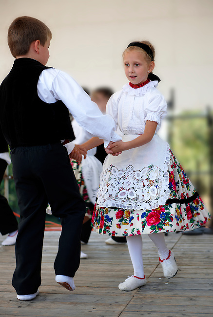 traditional children dancers in local german Svab traditional  dress - Annual wine harvest festival ( szuret fesztival ) . Hajos ( Hajós); Hungary