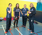 This image is FREE to use in all accredited media, courtesy of Cricket Scotland - Scotland's Minister of Health and Sport (today 24th Jan) tried her hand at cricket with the Captain and opening bat of Scotland's women's national team. The women's squad are currently preparing for an ICC Global Qualifier in Sri Lanka and will depart on Sunday for two warm-up games against Ireland in Dubai ahead of the Qualifiers in two weeks time. Scotland will face some tough opposition at the ICC Global Qualifier where they will face South Africa (8 February), Bangladesh (10 February), Papa New Guinea (11 February) and Pakistan (13 February) - picture shows Aileen Campbell, Minister of Health and Sport (centre left) with Scotland Capt Abbi Aitken (centre right), opening bat Oli Rae (left) and Nicola Wilson (CS Womens Participation Manager) at Fettes School - for further information please contact Ben Fox, Cricket Scotland on 0131 313 7420 or at benfox@cricketscotland.com - picture by Donald MacLeod - 24.01.2017 - 07702 319 738 - clanmacleod@btinternet.com - www.donald-macleod.com