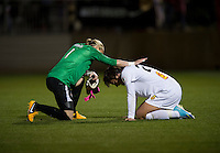 Ashlyn Harris (1) of the Washington Spirit checks on Abby Wambach (20) of the Western NY Flash after the game at the Maryland SoccerPlex in Boyds, MD.  Washington tied Western NY, 1-1.
