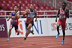 (L-R) Beram Trenten Anthony (PHI), Julian Jrummi Walsh (JPN), Abbas Mohamed (QAT), <br /> AUGUST 25, 2018 - Athletics : Men's 400m Semi-final at Gelora Bung Karno Main Stadium during the 2018 Jakarta Palembang Asian Games in Jakarta, Indonesia. <br /> (Photo by MATSUO.K/AFLO SPORT)
