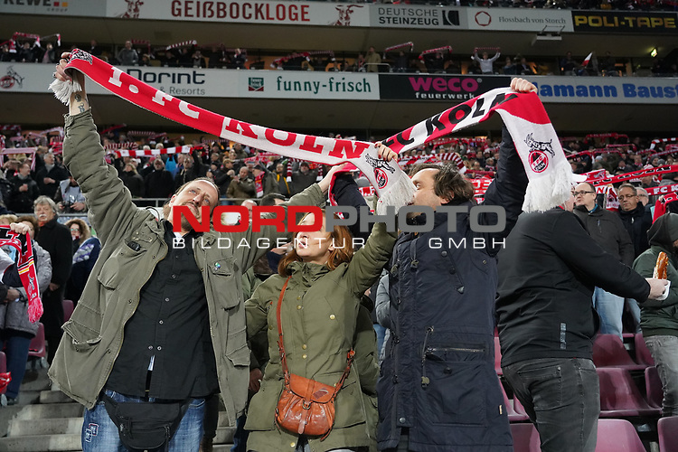 08.02.2019, RheinEnergieStadion, Koeln, GER, 2. FBL, 1.FC Koeln vs. FC St. Pauli,<br />  <br /> DFL regulations prohibit any use of photographs as image sequences and/or quasi-video<br /> <br /> im Bild / picture shows: <br /> Fans, freundlich, Stimmung, farbenfroh, Nationalfarbe, geschminkt, Emotionen, kölner <br /> <br /> Foto © nordphoto / Meuter