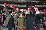08.02.2019, RheinEnergieStadion, Koeln, GER, 2. FBL, 1.FC Koeln vs. FC St. Pauli,<br />  <br /> DFL regulations prohibit any use of photographs as image sequences and/or quasi-video<br /> <br /> im Bild / picture shows: <br /> Fans, freundlich, Stimmung, farbenfroh, Nationalfarbe, geschminkt, Emotionen, kölner <br /> <br /> Foto © nordphoto / Meuter