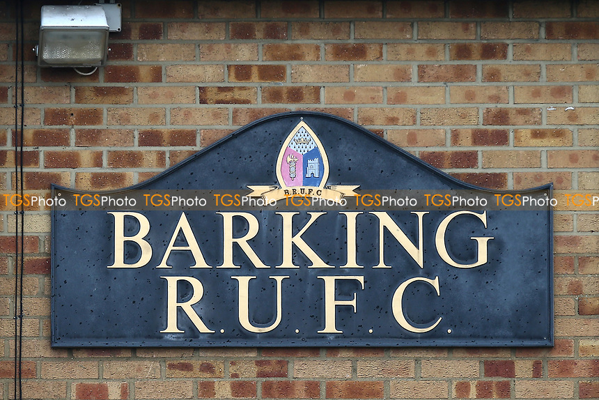 Barking RUFC sign during Barking RFC vs Ilford Wanderers RFC, London 3 Essex Division Rugby Union at Gale Street on 9th February 2019