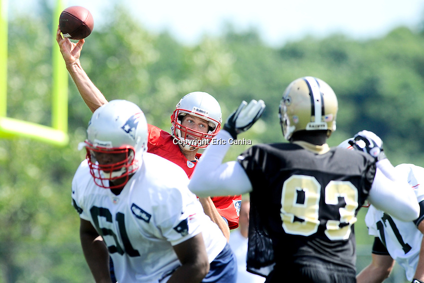 August 8, 2012 New England Patriots quarterback Tom Brady #12 during joint practice between the Patriots and the Saints at Gillette Stadium in Foxborough Massachusetts. Eric Canha / CSM..