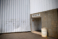 May 29, 2013; Englishtown, NJ, USA: General view of the entrance to the restrooms beneath the grandstands of Raceway Park. Mandatory Credit: Mark J. Rebilas-
