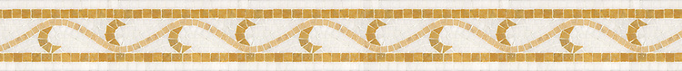 "4 1/4"" Adona border, a hand-cut stone mosaic, shown in polished Thassos, Jerusalem Gold, and Sylvia Gold."