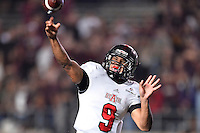 Arkansas State quarterback Fredi Knighten (9) throws a pass during NCAA Football game, Thursday, November 20, 2014 in San Marcos, Tex. Texas State leads Arkansas State 28-14 at the halftime. (Mo Khursheed/TFV Media via AP Images)