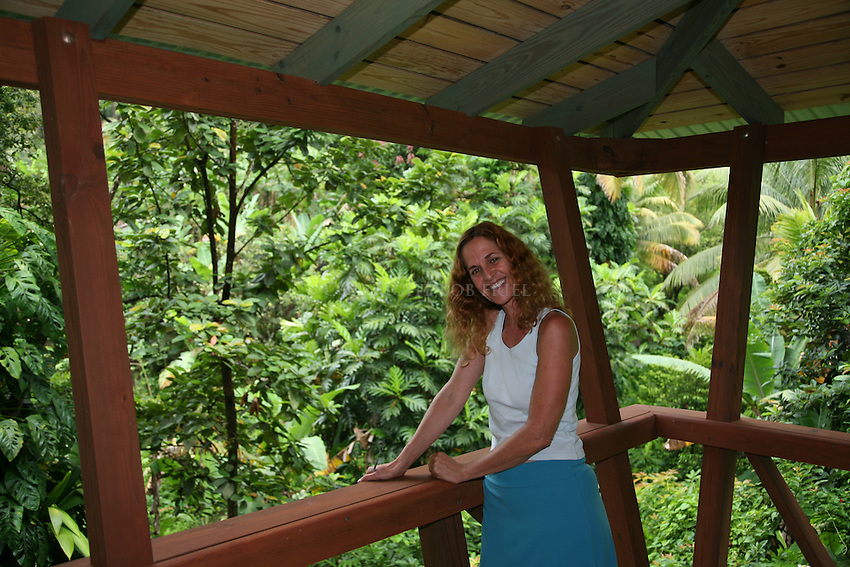 Scenes from Cocoa Cottages, Trafalgar, Dominica, with owner Iris Azoulay