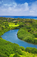 Historic Wailua River where many significant Heiau (temples) were built by Hawaiian Ali`i (chiefs) and Kahuna (priests), State Park, Kauai, Hawaii, Pacific Ocean