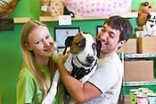 Owners of Unleashed, JP and Amy, with their dog Benny, winners of Best Place to Pamper Your Pet in The Triangle, Raleigh, N.C., Wednesday, June 1, 2011.