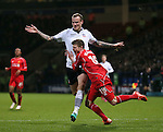 Alberto Moreno of Liverpool throws himself to the floor under pressure from David Wheater of Bolton Wanderers - FA Cup Fourth Round replay - Bolton Wanderers vs Liverpool - Macron Stadium  - Bolton - England - 4th February 2015 - Picture Simon Bellis/Sportimage