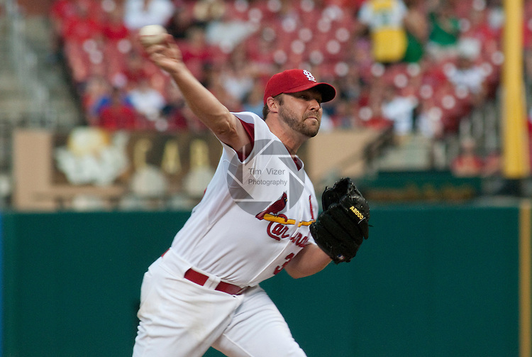 01 June 2011                 St. Louis Cardinals starting pitcher Jake Westbrook (35) pitches early in the game. The San Francisco Giants defeated the St. Louis Cardinals 7-5 in 11 innings  on Wednesday June 1, 2011 in the third game of a four-game series at Busch Stadium in downtown St. Louis.
