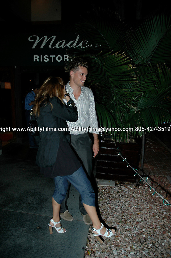 New couple Jennifer Esposito and Austin Nichols eating at Madeos Restaurant in Beverly Hills. Exclusive