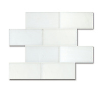 "3"" x 6"" Bricks shown in polished and flat Paperwhite are part of New Ravenna's Studio Line of ready to ship mosaics."