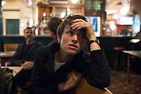 At the Cock Tavern pub after opening for Free Architecture at the Chalton Gallery, London, England, Great Britain