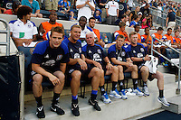 Everton FC manager David Moyes (right) with members of his coaching staff. The Philadelphia Union defeated Everton FC 1-0 during an international friendly at PPL Park in Chester, PA, on July 20, 2011.