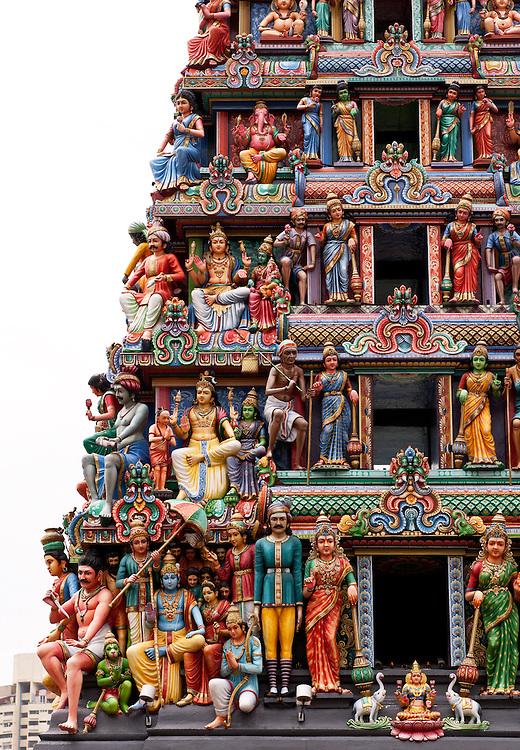 Painted figures on the entrance gopuram tower, Sri Mariamman Temple, South Bridge Road, Chinatown, Singapore