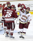 Michael Lecomte (UMass - 25), Michael Marcou (UMass - 22), Matt Price (BC - 25) (Nolet) - The Boston College Eagles defeated the University of Massachusetts-Amherst Minutemen 2-1 (OT) on Friday, February 26, 2010, at Conte Forum in Chestnut Hill, Massachusetts.