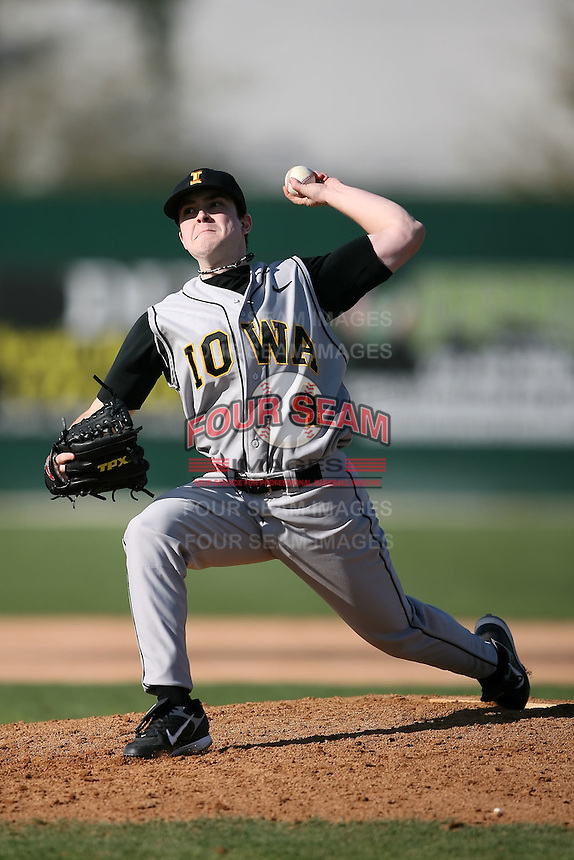 February 21, 2009:  Pitcher Jeff Pacha (4) of the University of Iowa during the Big East-Big Ten Challenge at Jack Russell Stadium in Clearwater, FL.  Photo by:  Mike Janes/Four Seam Images
