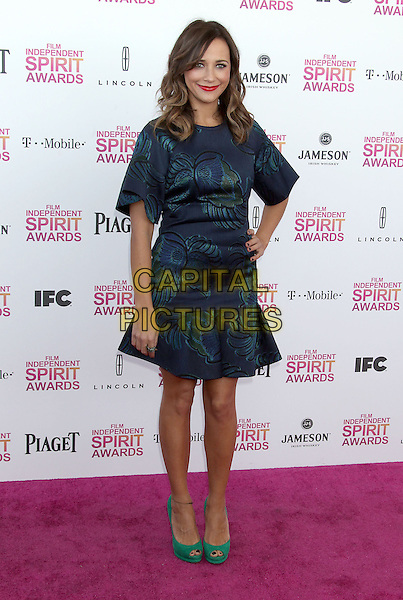 Rashida Jones.2013 Film Independent Spirit Awards - Arrivals Held At Santa Monica Beach, Santa Monica, California, USA,.23rd February 2013..indy indie indies indys full length hand on hip green blue print dress shoes peep toe suede .CAP/ADM/RE.©Russ Elliot/AdMedia/Capital Pictures
