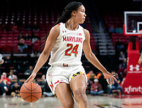 COLLEGE PARK, MD - DECEMBER 28: Stephanie Jones #24 of Maryland dribbles up court. during a game between University of Michigan and University of Maryland at Xfinity Center on December 28, 2019 in College Park, Maryland.