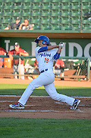 Reymundo Torres (18) of the Ogden Raptors at bat against the Idaho Falls Chukars in Pioneer League action at Lindquist Field on June 23, 2015 in Ogden, Utah. Idaho Falls beat the Raptors 9-6.(Stephen Smith/Four Seam Images)