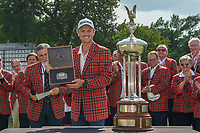 Justin Rose (GBR) is presented a belt buckle for winning the Fort Worth Invitational, The Colonial, at Fort Worth, Texas, USA. 5/27/2018.<br /> Picture: Golffile | Ken Murray<br /> <br /> All photo usage must carry mandatory copyright credit (© Golffile | Ken Murray)