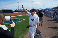 New York Yankees Billy Connors waives to the crowd before a Spring Training game against the Detroit Tigers on March 2, 2016 at George M. Steinbrenner Field in Tampa, Florida.  New York defeated Detroit 10-9.  (Mike Janes/Four Seam Images)