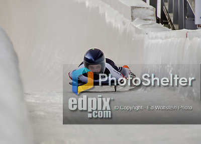 8 January 2016: Carina Mair, competing for Austria, crosses the finish line on her first run of the BMW IBSF World Cup Skeleton race at the Olympic Sports Track in Lake Placid, New York, USA. Mandatory Credit: Ed Wolfstein Photo *** RAW (NEF) Image File Available ***