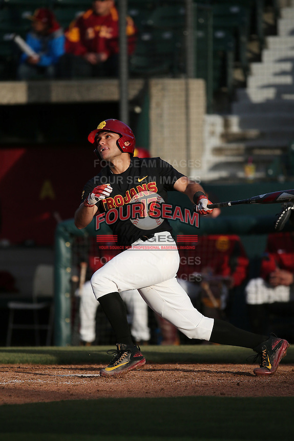 Frankie Rios #17 of the Southern California Trojans bats against the Coppin State Eagles at Dedeaux Field on February 18, 2017 in Los Angeles, California. Southern California defeated Coppin State, 22-2. (Larry Goren/Four Seam Images)