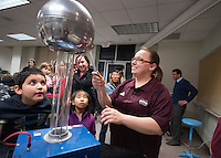 Science Night at the Museum (Darwin Week): children watch physics experiments and demonstrations.<br />  (photo by Megan Bean / &copy; Mississippi State University)