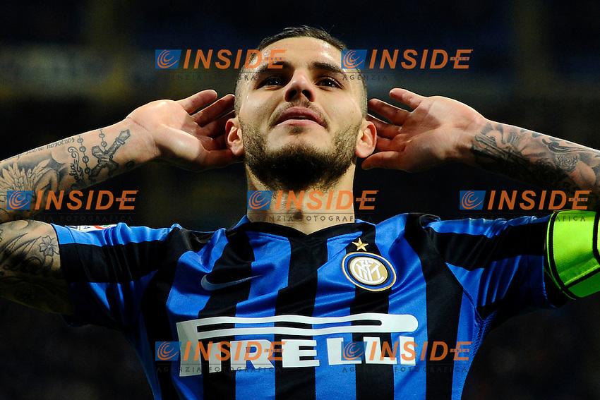 Esultanza gol di Mauro Icardi Inter 3-0. Celebration goal<br /> Milano 20-02-2016 Stadio Giuseppe Meazza - Football Calcio Serie A Inter - Sampdoria. Foto Giuseppe Celeste / Insidefoto