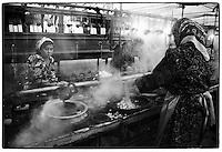Uzbekistan - Ferghana - Yodgorlik Silk Factory, mixes mass production (soviet heritage) with Tika process (Uzbek tradition)