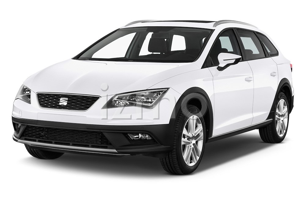 2015 Seat Leon Style Copa 4 Door Hatchback Angular Front stock photos of front three quarter view