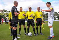 Referee Norbert Huata oversees the coin toss before the Oceania Football Championship final (second leg) football match between Team Wellington and Auckland City FC at David Farrington Park in Wellington, New Zealand on Sunday, 7 May 2017. Photo: Dave Lintott / lintottphoto.co.nz