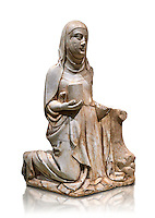 Gothic marble statue of Mary Magdelane (Magdelena) by Mestre de Pedralbes of Barcelona, 2nd half of 14th Century, from the cemetery of the cathedral of Barcelona.  National Museum of Catalan Art, Barcelona, Spain, inv no: MNAC  9797. Against a white background.