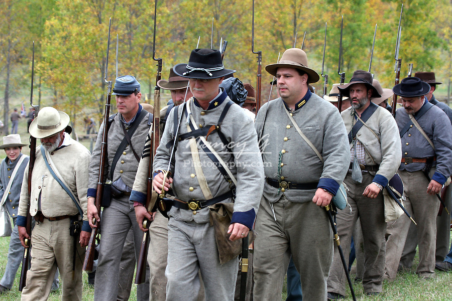 Confederate civil war soldiers marching in line during a Civil War Reenactment at the old Wade House Greenbush Wisconsin