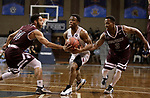 SIOUX FALLS, SD: MARCH 23: Jason Jolly #1 from Fairmont State looks to split the defense of Tyler Jenkins #14 and Al Davis #3 from Bellarmine during the Men's Division II Basketball Championship Tournament on March 23, 2017 at the Sanford Pentagon in Sioux Falls, SD. (Photo by Dick Carlson/Inertia)