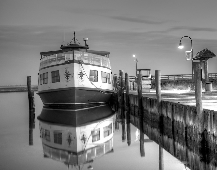 Moon Chaser Reflection at Dawn at Captree Boat Basin, Fire Island, New York, HDR