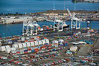 aerial container ship being loaded at Port of Oakland, California