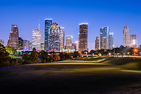Houston Skyline at Twilight -  This is one of my favorite image of the Houston skyline as the blue hour really pops the buildings and the park lights turn on which show just how close the city is to one of the many parks that run along the Buffalo Bayou in the city. This is the Eleanor Tinsley park that is right in downtown area along the Allen Parkway.