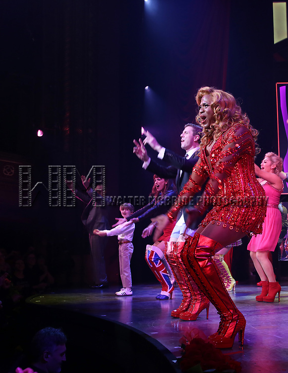 """Jake Shears and Wayne Brady during the Curtain Call for Wayne Brady's return to """"Kinky Boots"""" on Broadway on March 5, 2018 at the Hirschfeld Theatre in New York City."""