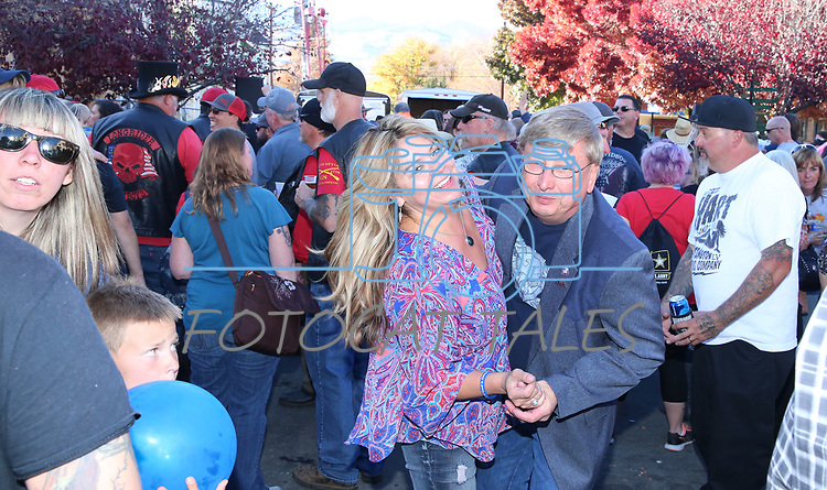 Gaileen Anderson and Dave Perrott dance at the annual Telegraph Square street party during the Nevada Day celebration in Carson City, Nev., on Saturday, October 28, 2017.<br /> Photo by Lance Iversen/Nevada Momentum