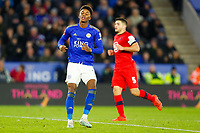 4th January 2020; King Power Stadium, Leicester, Midlands, England; English FA Cup Football, Leicester City versus Wigan Athletic; Demarai Gray of Leicester City rues a missed shot - Strictly Editorial Use Only. No use with unauthorized audio, video, data, fixture lists, club/league logos or 'live' services. Online in-match use limited to 120 images, no video emulation. No use in betting, games or single club/league/player publications