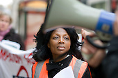 A London Underground cleaner joins an RMT protest outside the London offices of failed private contractor Metronet to demand improved wages, terms and conditions.