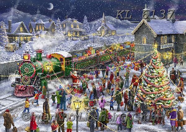 Interlitho-Marcello, CHRISTMAS SANTA, SNOWMAN, WEIHNACHTSMÄNNER, SCHNEEMÄNNER, PAPÁ NOEL, MUÑECOS DE NIEVE, paintings+++++,santa train,KL6137,#x#,puzzle,puzzles